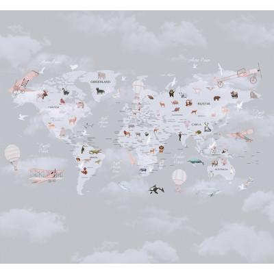 Карта мира на фоне облаков, S1013, размер 291х270 см
