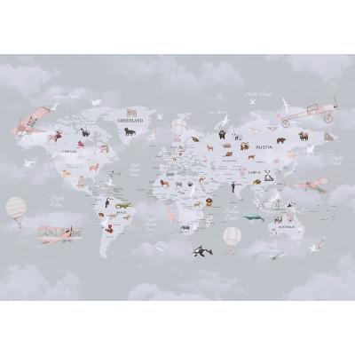 Карта мира на фоне облаков, S1014, размер 388х270 см