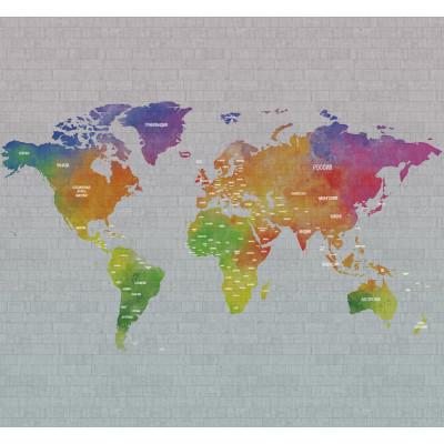 Карта мира на русском, S1133, размер 291х270 см